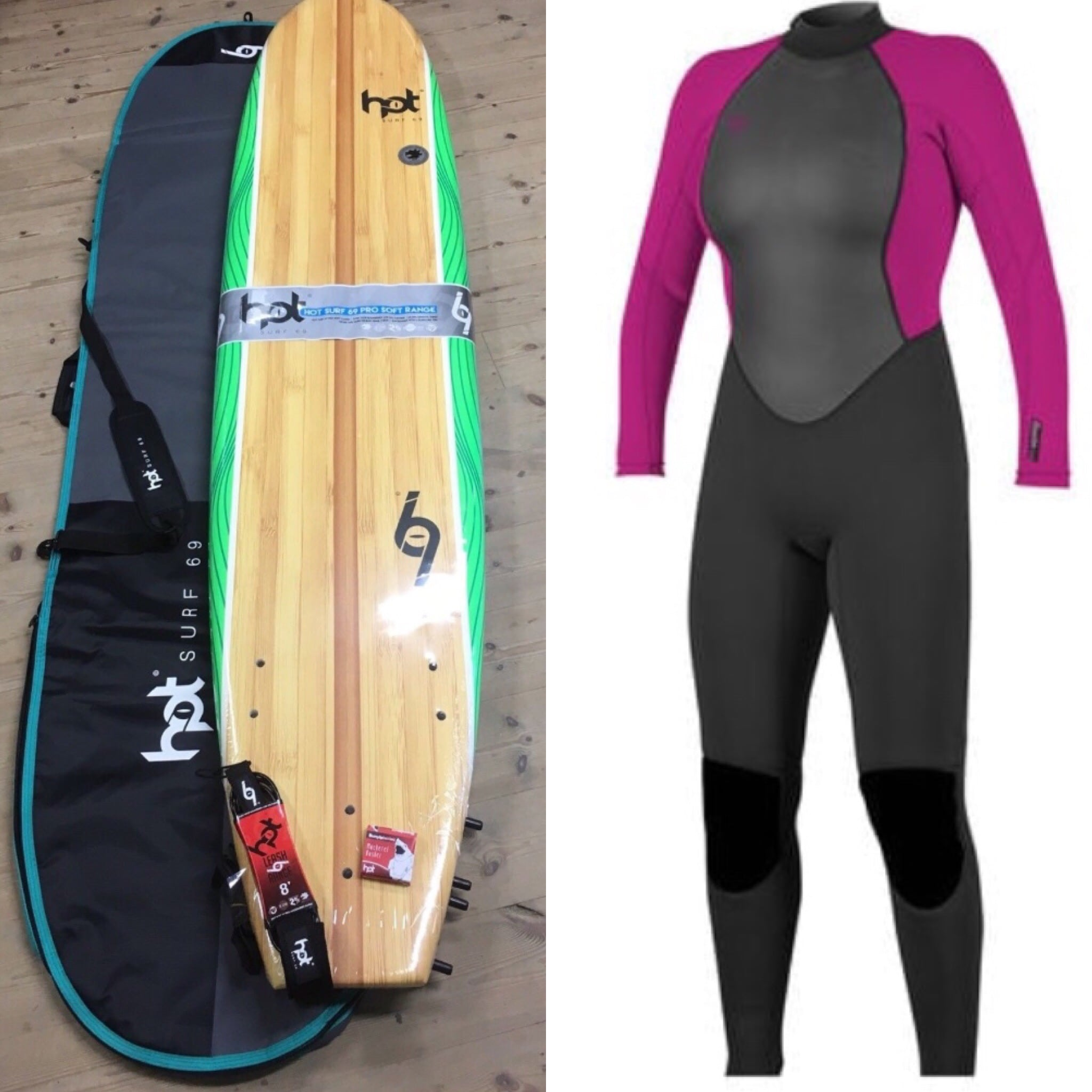 8ft Hotsurf 69 Softboard Complete Package Deal fe11d5412
